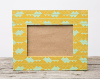 Mustard and Mint Alpine Pattern Picture Frame