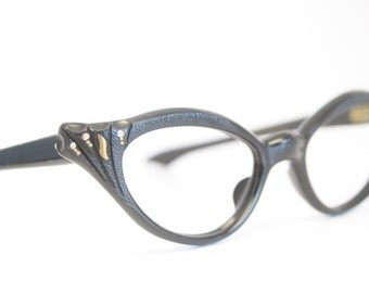 Black Rhinestone vintage cat eye glasses cat eye frames New Old Stock