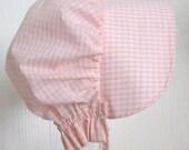 Baby Bonnet, Pink Gingham Sun Bonnet,  Pioneer Bonnet ,Baby Girl Bonnet, Toddler Bonnet -  Ready to Ship