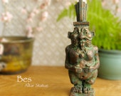 Bes - Protector Against Ills and Patron of Childbirth - Altar Statue and Protective Votive - Handmade with Bronze Patina Finish