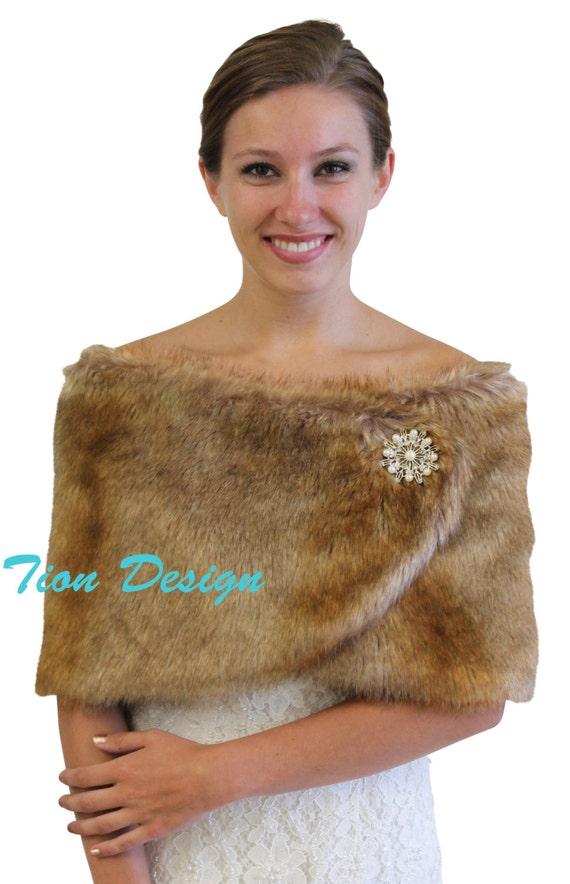 Bridal Wrap Bridal Shrug Vintage Brown Chinchilla By