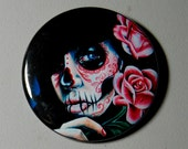 2.25 inch Pin Back Button - Evening Bloom - Day of the Dead Sugar Skull Girl Calavera Colorful Tattooed Pin Up Tattoo Art Pin