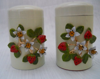 Strawberry Blossom Salt and Pepper Shakers - vintage, collectible, rare