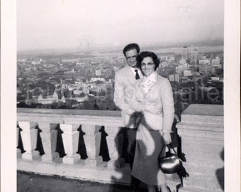 Vintage Photo, Young Couple on Balcony, Dramatic View, Black & White Photo, Found Photo, Old Photo, Snapshot, Vernacular Photo
