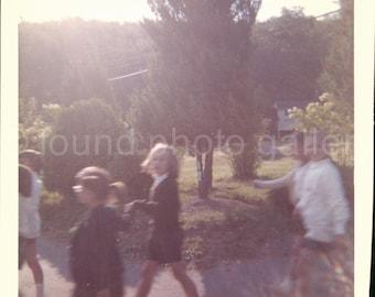Vintage Photo, School Children, Garden Landscape, Color Photo, Old Photo, Found Photo, Snapshot  *AUGUSTINE0596