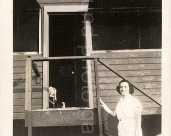Vintage Photo, Black & White Photo, Woman on Vacation, Wood Cabin, Tennis Whites, Found Photo, Snapshot, Vernacular Photo, Old Photo