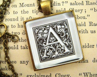 Custom Craftsman Era Letter Pendant Necklace William Morris Mission Style Arts and Crafts Personalize Gift Ideas