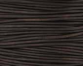 Leather-2mm Round Cord-Soft-Natural Dark Brown-2 Meters