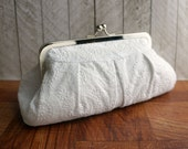 Cotton clutch, evening bag, kisslock clutch, white clutch, wedding clutch, bridal clutch purse