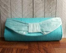Clearance. Aqua clutch bag, bow clutch, blue purse, spring fashion, turquoise clutch, silk clutch with bow,