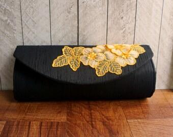 Black evening bag with with orange lace flower applique, black clutch purse, silk clutch