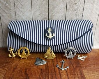 Navy blue clutch bag, blue and white nautical clutch purse with embellishment. Striped clutch, Nautical wedding clutch.
