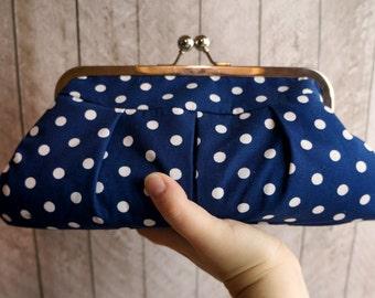 Navy blue clutch, blue and white polka dot clutch purse in frame, Rockabilly clutch