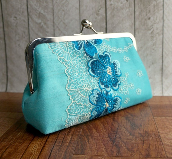 Clearance. Turquoise blue silk clutch bag with embroidered flower overlay, Lace fashion, Turquoise clutch, Aqua clutch purse