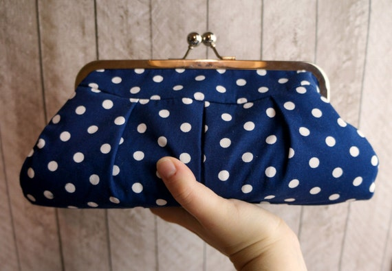 Navy blue clutch, blue and white polka dot clutch purse in frame, Rockabilly clutch