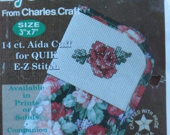 Eye Glass Case - Charles Craft - 14 ct. Aida Insert - Spring Floral Pattern Fabric