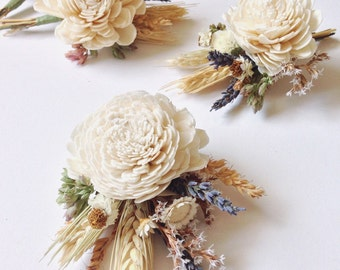 Sola Boutonniere // Harvest Meadow // Wheat Boutonniere