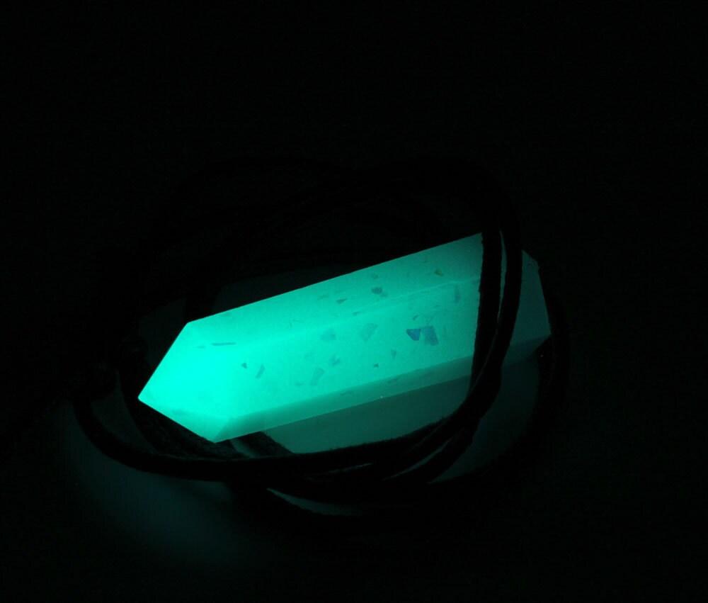 Aqua glow in the dark fantasy resin quartz crystal by skullery for Glow in the dark resin