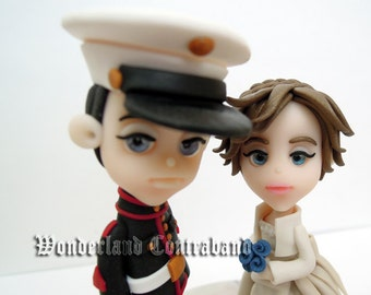 "Standard ""3 Marine and Bride - Wedding Cake Topper - ORIGINAL OOAK Miniature Sculptures - Decor"