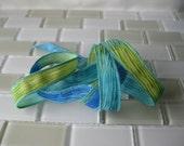 "Hand Painted Crinkle Silk Wrap Bracelet - Cyan Blue, Aqua and Lime Green - 1/2"" Fairy Ribbon"