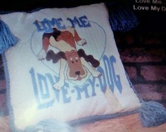 Love Me Love My Dog vintage crewel pillow kit by Kappie Originals
