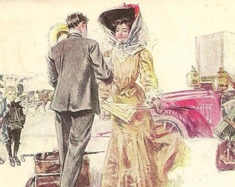 Howard Chandler Christy Vintage Postcard - Speeding The Coming Guest Loads of Luggage and Elegant Victorian Lady 1909