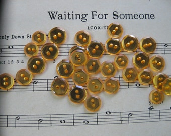 Vintage Amber Mirror Buttons from the 1940s...new old stock..lot/12