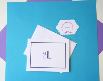 Custom Folded Monogram Note Cards