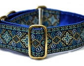 Martingale Dog Collar or Buckle Dog Collar - Nobility Jacquard in Blue - 1.5 Inch