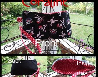 Custom Swoon Coraline Wristlet, Unisex, Skulls, Pirates, Crossbones, Polka Dots. Red and Black, Custom Colors