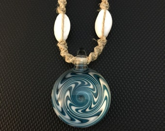 Agua Azul Blue and White Glass Switchback Pendant on Macrame Necklace with Matching Beads