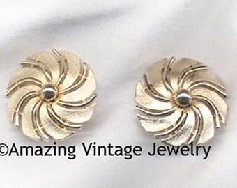 GOLDEN SWIRL Earrings * Sarah Coventry * VINTAGE 1960 * Sale 5.00