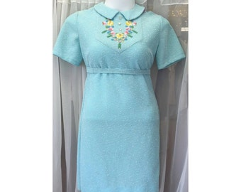 Vintage Retro 1960's Blue Buttoned Dress With Embroidered Detail size L