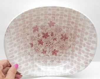 Vintage Pink Plaid Floral  Serving Bowl Grindley England Regent Pattern