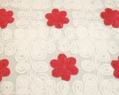 Lovely Red Flowers and White Curlicues on Grey Vintage Chenille Bedspread Fabric - Large Piece with 6 Flowers