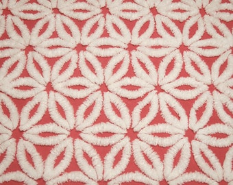Hard-to-Find Red Daisy Hofmann Vintage Chenille Bedspread Fabric - 2 Pieces - 14 x 28 inches and 16 x 20 inches