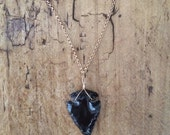 Obsidian Arrowhead Necklace with a Gold Chain