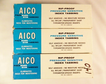 Vintage Aico Sure Stick Tabs- Clear- 1/2 Inch- 3 Boxes Journaling Planner Tabs Craft Supplies