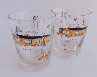 2 Vintage Double Old Fashioned Whiskey Glasses, Universal, Chalet, Promo Glasses, Mid Century Lamps and Lighting