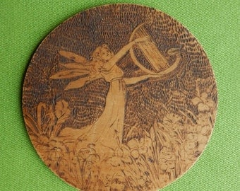 Art Nouveau Style Pyrography Fairy with Swan Harp Iris Flowers and Frog