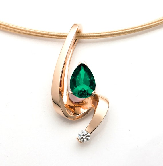 emerald pendant, gold necklace, diamond necklace, emerald necklace, 14k gold jewelry, May birthstone, fine jewelry, artisan jewelry - 3380