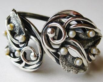 Vintage 60s Tortolani Silver Scroll & Faux Pearl Clamper Bangle Bracelet