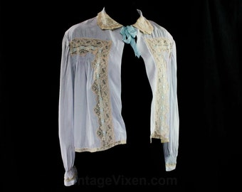 Size 14 Pale Blue Rayon 1940s Bed Jacket - 40s Bedjacket - Silky Soft - Bust up to 40 - Large Size - Femme Boudoir Lingerie - 44894