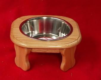 Elevated Dog Feeder Bowl , 6 Inch High, Three Quart Bowl, Solid Oak, FREE  STAIN