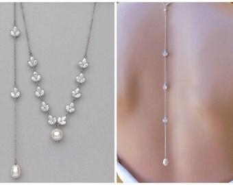Bridal Back Necklace, Back Drop Necklace, Bridal Necklace, Bridal Jewelry, Wedding Necklace, HAYLEY BD