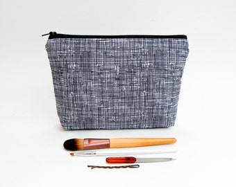 Black and White Makeup Bag - Minimalist Zipper Pouch - Textured Large Pencil Case