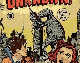 GODZILLA Vintage Sci Fi Print Illustration Kaiju Japan Pulp Comic Adventures into the Unknown 13