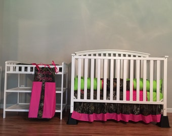 6pc set Camo Mossy Oak fabrix with lime & pink baby Crib Bedding Set with Minky Dots and FREE Monograms and Diaper Stacker