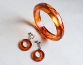 1930s Rootbeer Bakelite bangle & hoop earrings set / 30s Catalin jewellery