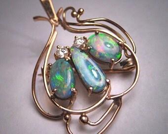 Antique Australian Black Opal Diamond Pendant Necklace 14K Gold Art Nouveau Deco